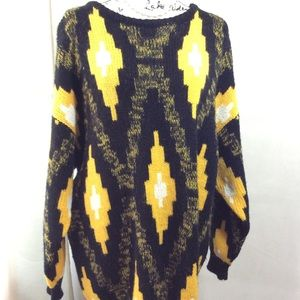 Vintage Esprit Sport Yellow Black Pattern Sweater